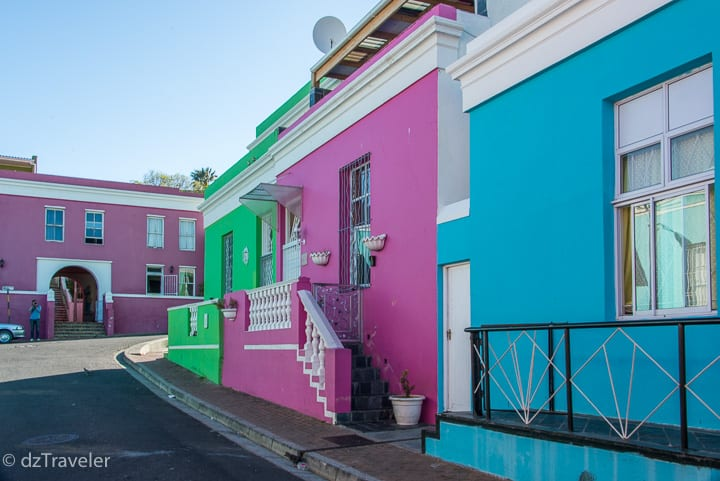 Beautiful colorful buildings in Bo-Kaap, Cape Town