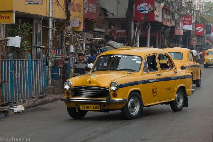 Historical Ambassador Yellow Taxi in Kolkata