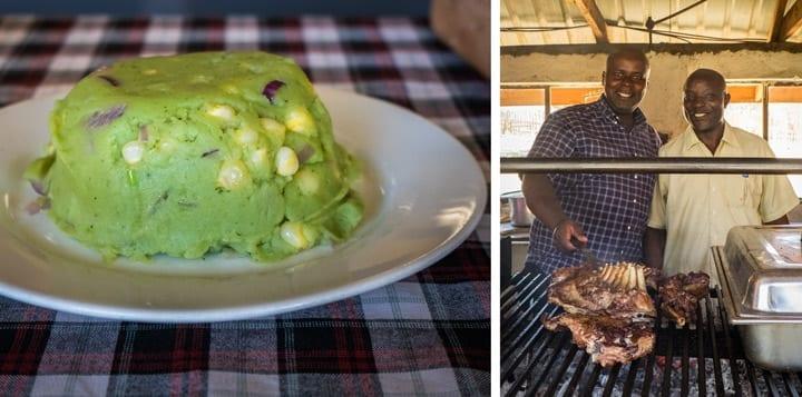 raditional Nyama Choma - grilled meat andMukimo.