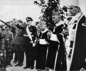 Nazistowskie pozdrowienie przedstawicieli władz NDH. (Alojzy Stepinac pierwszy zprawej)