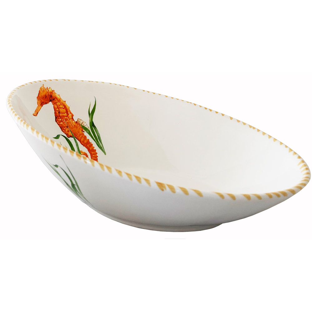 Seahorse Diagonal Bowl 12 X 8 X 4 5h