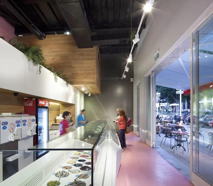 kitchen desk remodeling open living room leggenda ice cream parlour, tel aviv - e-architect