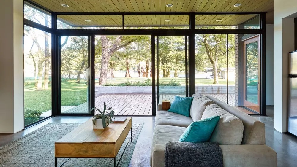 small kitchen storage tuscany faucet lake austin cabin, texas - e-architect