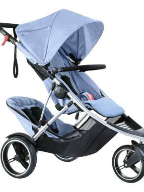 poussette voyager double convertible de phil and teds bleue