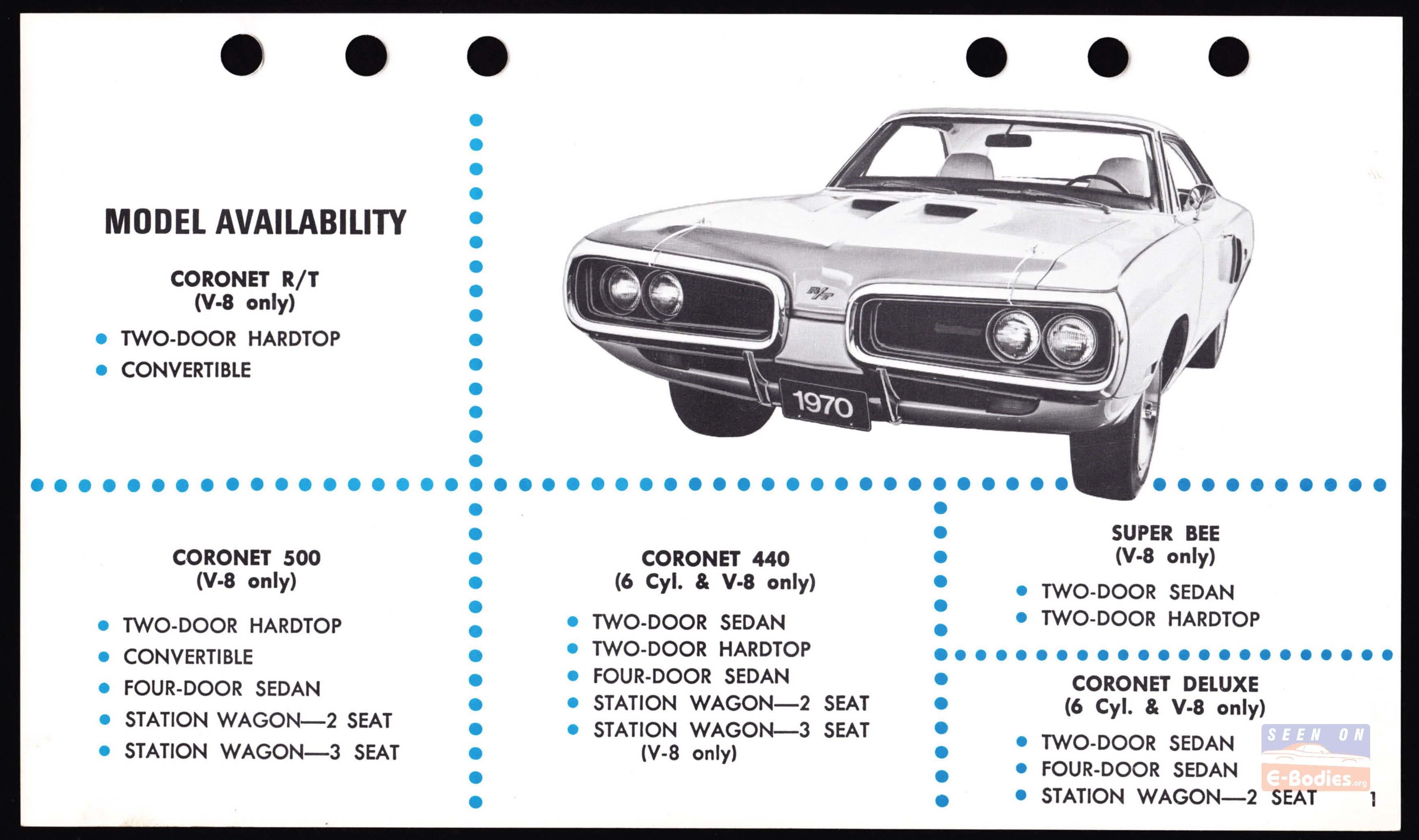 1970 Dodge Data Book Fast Facts Coronet