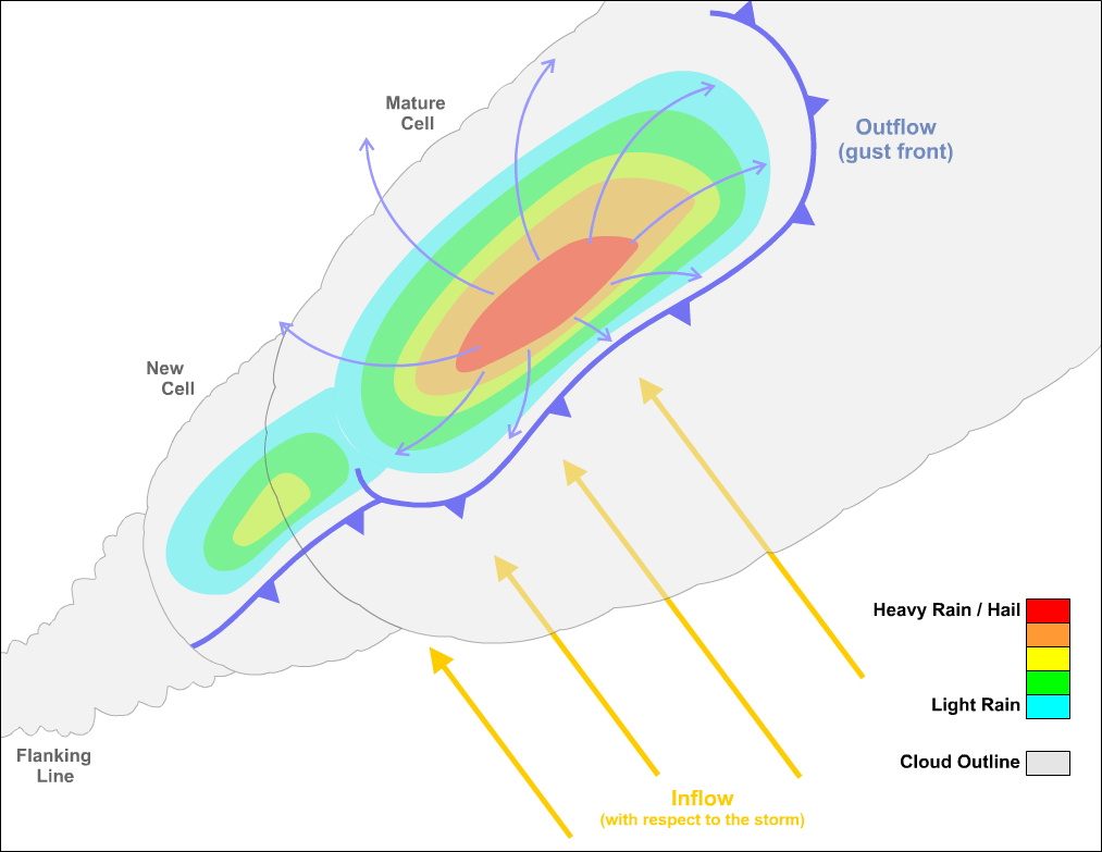 hight resolution of note how the low level storm relative flow attacks the gust front head on maximizing lift and thereby paving the way for the repeated initiation of new