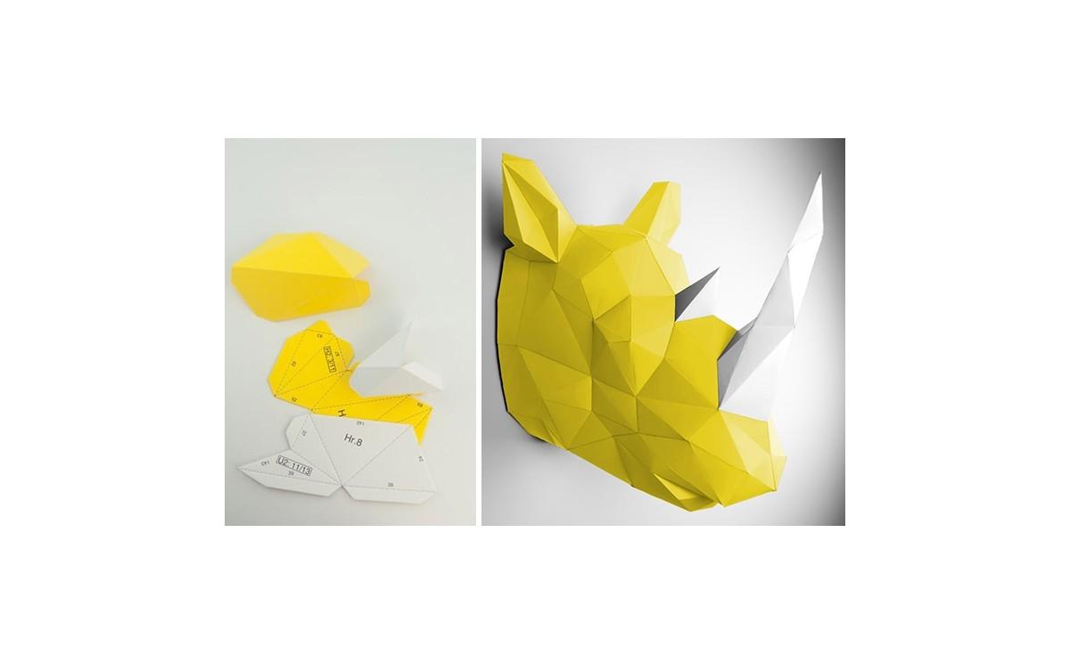 Trophe Mural Origami Rhinocros Jaune pour la Dcoration de Chambre Enfant Trophes Animaux