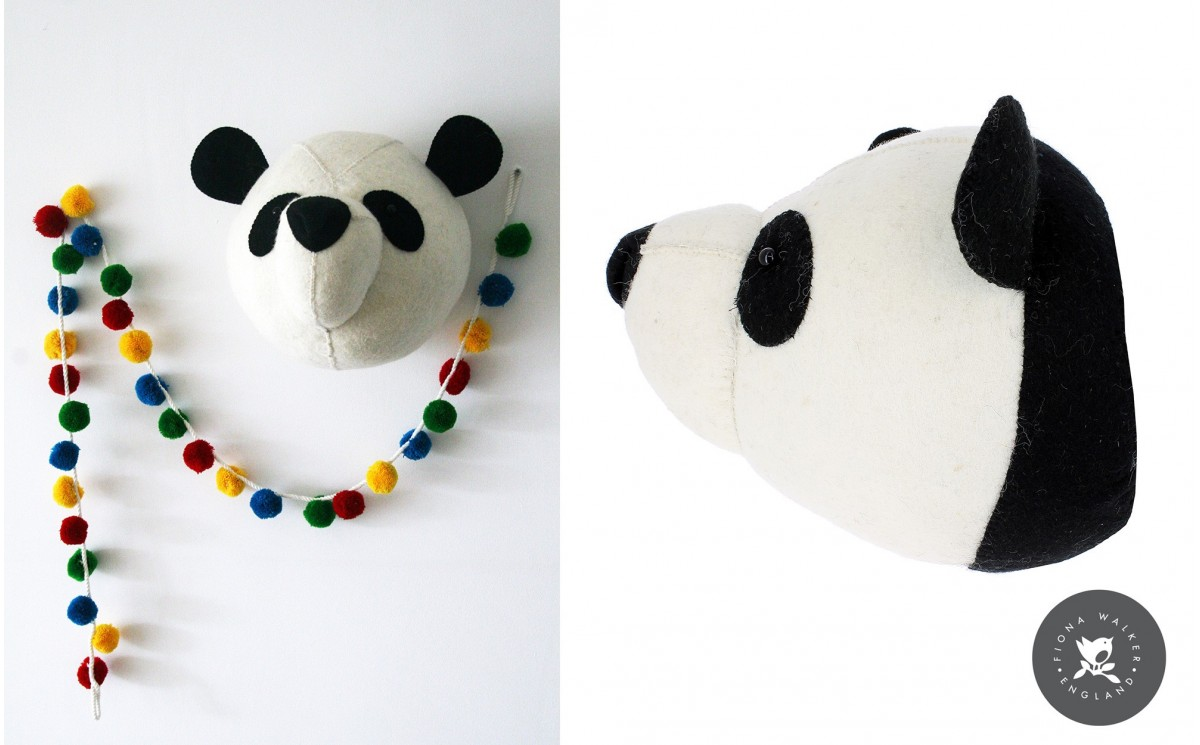Panda Head Wall Trophy Wall Decors for Kids Room Felt Animal Heads by Fiona Walker
