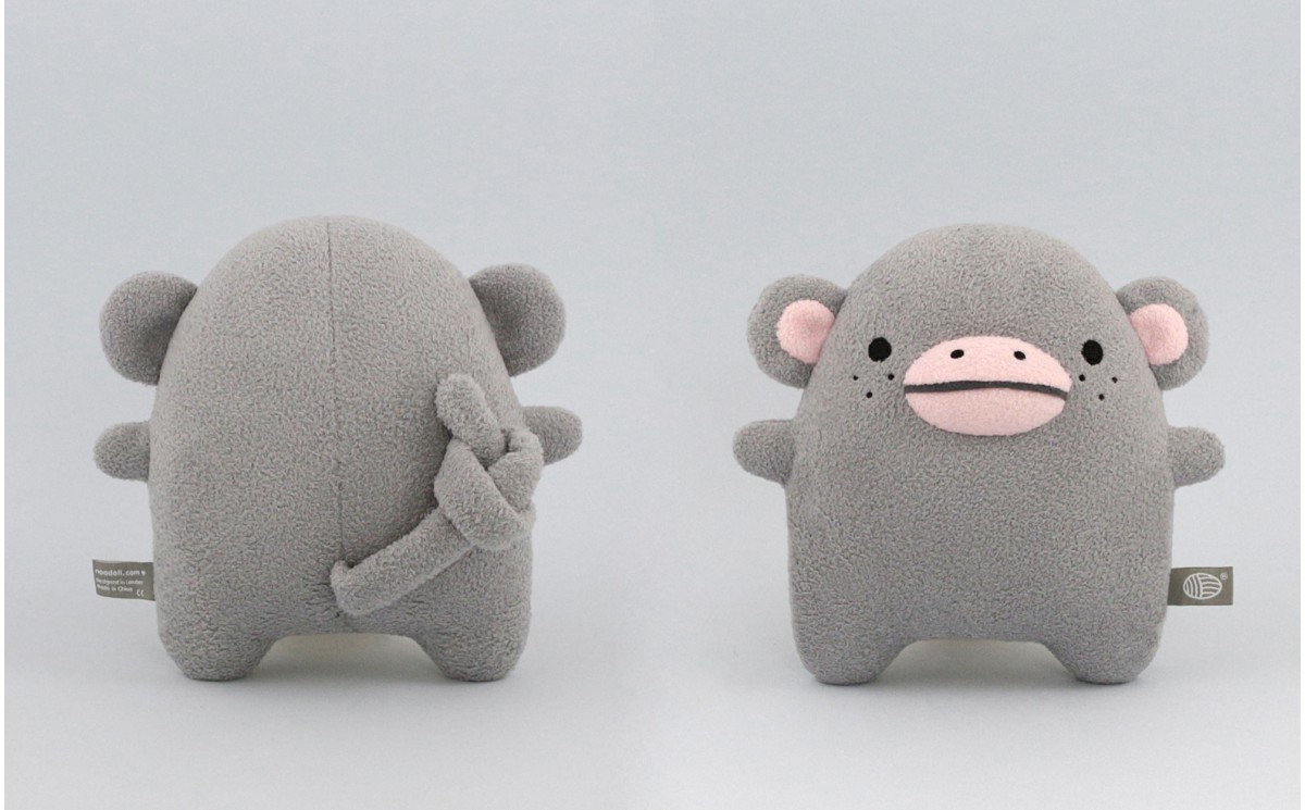 STUFFED SOFT PLUSH TOY GREY MONKEY RICECOCO FOR BABIES AND CHILDREN BY NOODOLL