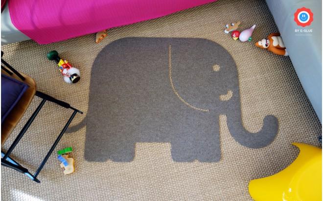 FELT KIDS RUG ELEPHANT Animal Shape Decorative Carpet For