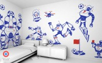 Robot Soccer Wall Decals for Children Boys Bedroom Wall Decor