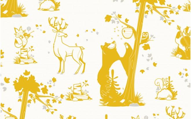 Girl And Boy Cartoon Wallpaper Forest Animals Wallpaper Kids Room Wall Murals