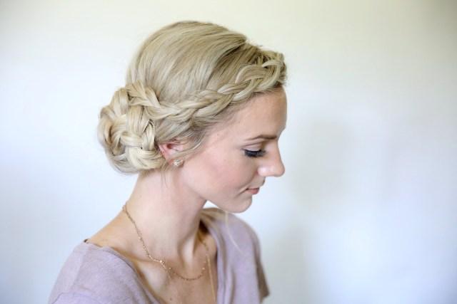 easy braided side bun   homecoming hairstyles   cute girls