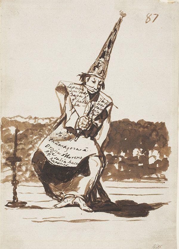 Francisco de Goya, Victima de la Inquisición, dibujo perteneciente al álbum C o de la Inquisición. 1810–14, Pincel, aguada, tinta china.