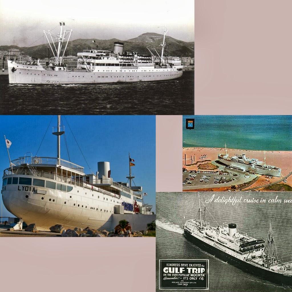 "To ""Lydia"" (πρώην Moonta) των Hellenic Mediterranean Lines (της εταιρείας όπου εργάστηκε για πολλά χρόνια ο Νίκος Καββαδίας) έκλεισε τον κύκλο του σε μία γαλλική παραλία (Le Barcares), έχοντας μετατραπεί πλέον σε καζίνο. Βλ. Reuben Goossens"