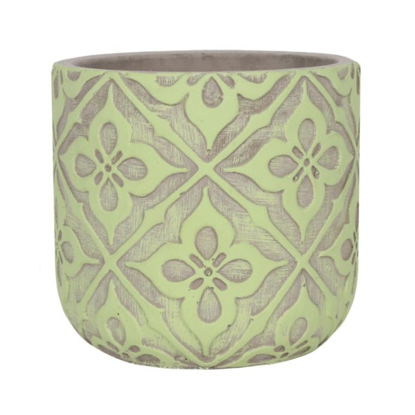 lime green and grey patterned plant pot