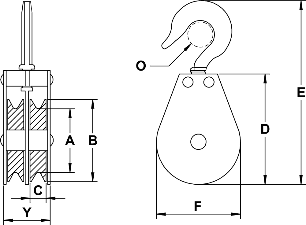 Double Sheave Swivel Hook Blocks For Cable