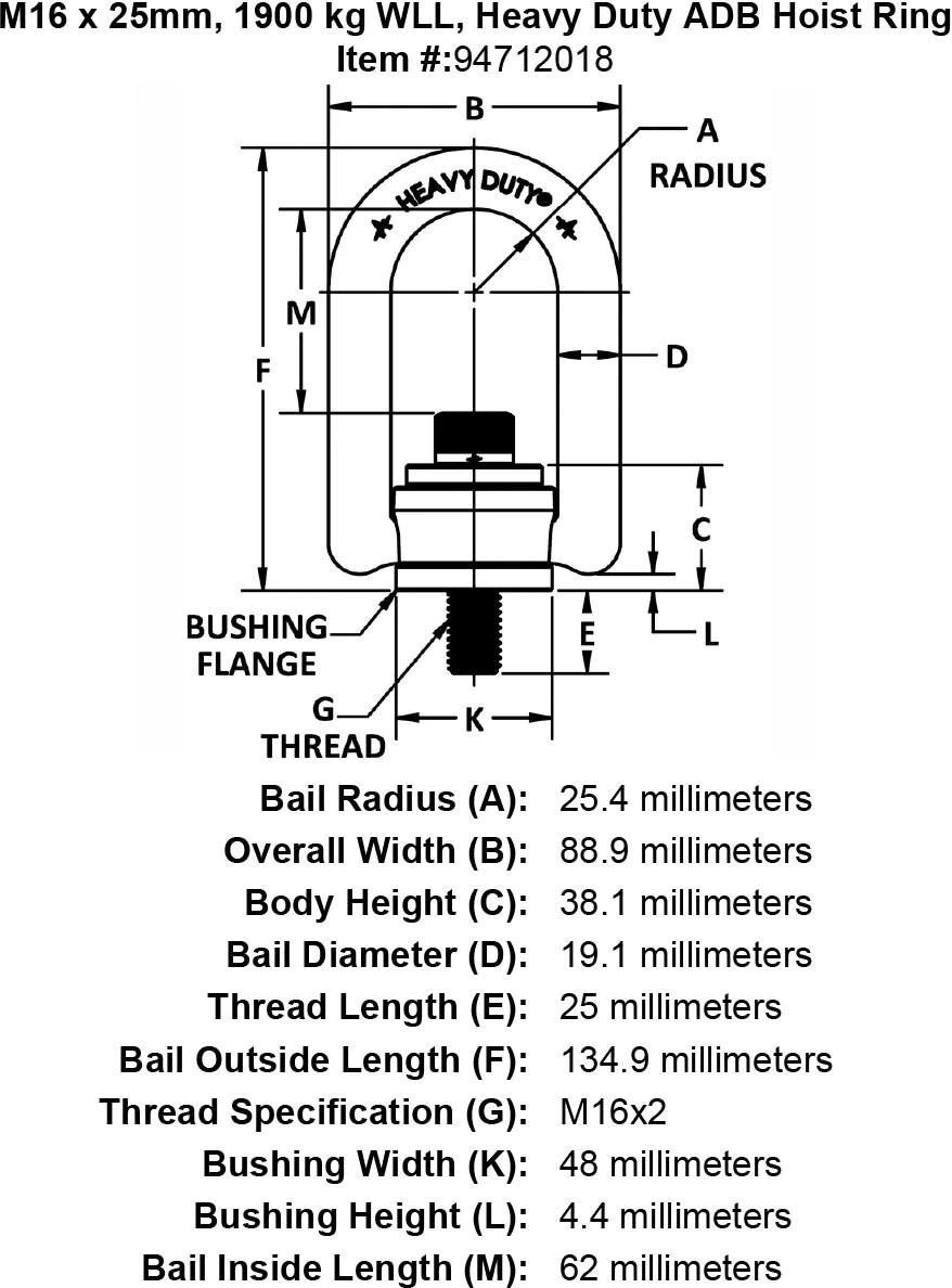 M16 X 25mm Kg Wll Heavy Duty Adb Hoist Ring