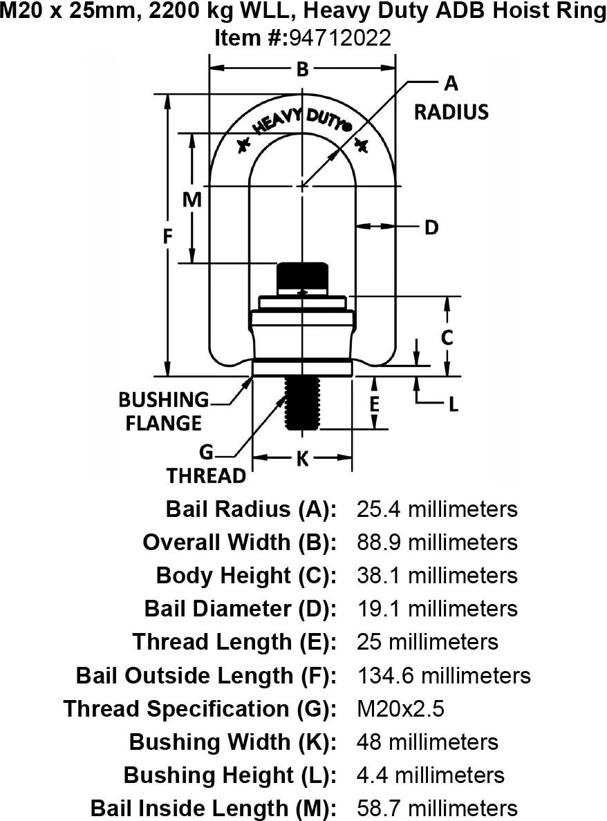 M20 X 25mm Kg Wll Heavy Duty Adb Hoist Ring
