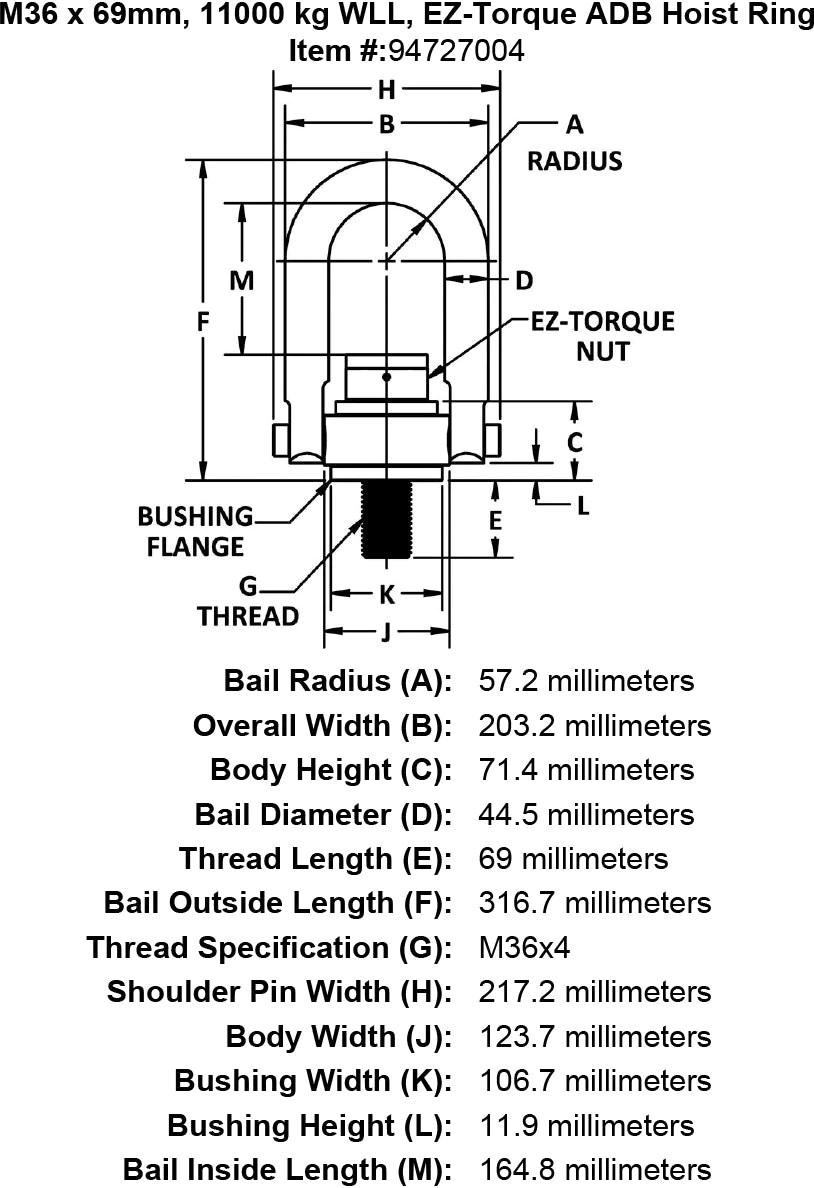 M36 x 69mm, 11000 kg WLL, EZ-Torque ADB Hoist Ring