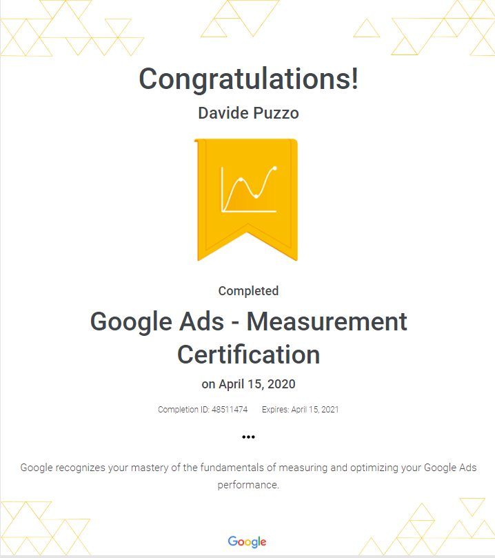 Google Ads Measurement Certification - Davide Puzzo