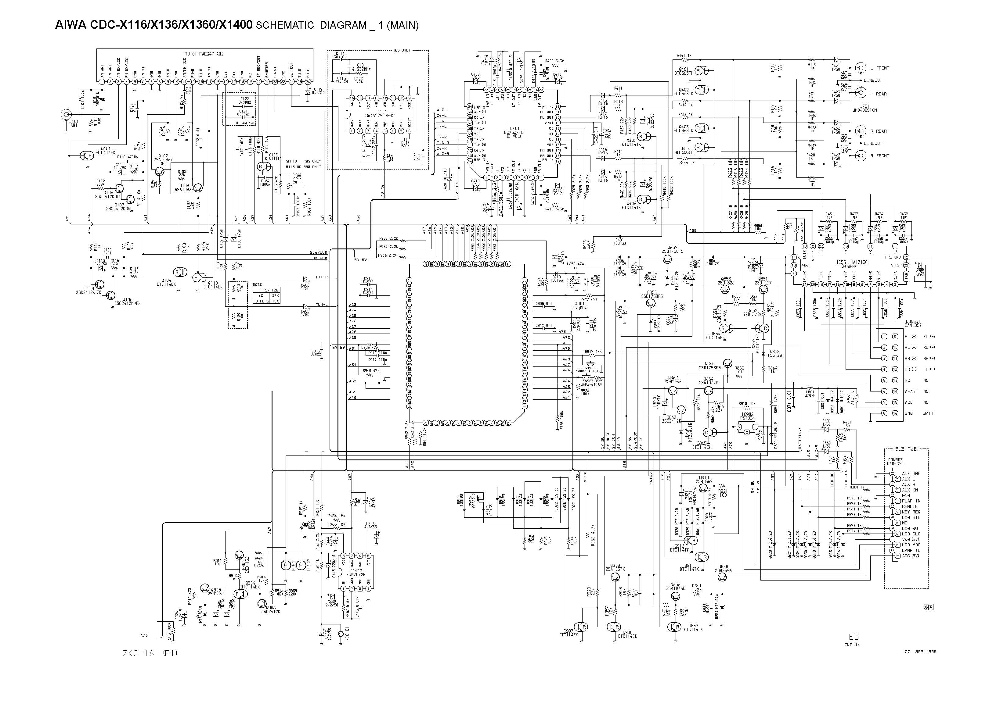 Aiwa CDC-X1400 Schematic Diagram Main / Front in PDF