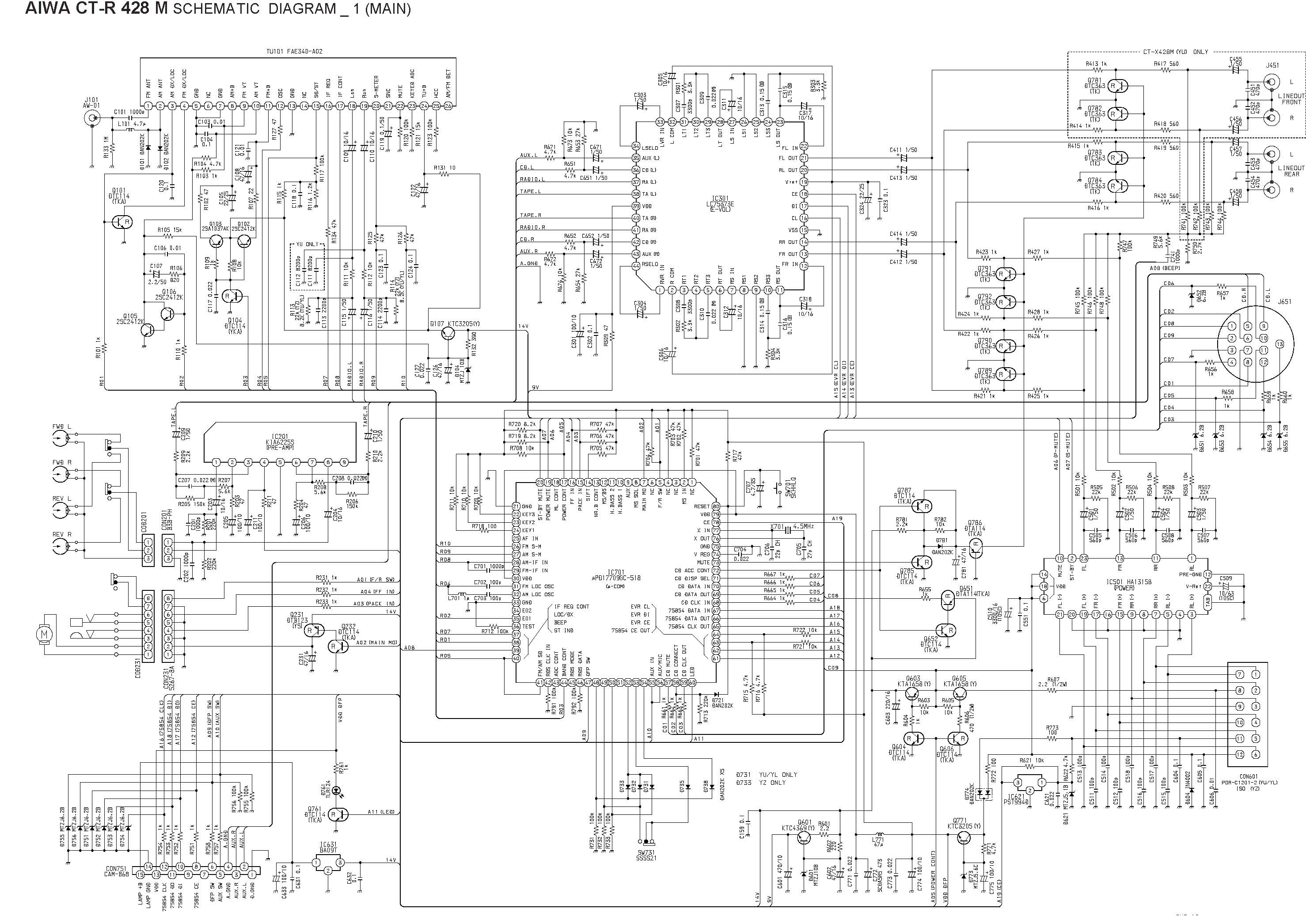 Aiwa CT-R 428 M Schematic Diagram (Main / Front) in PDF