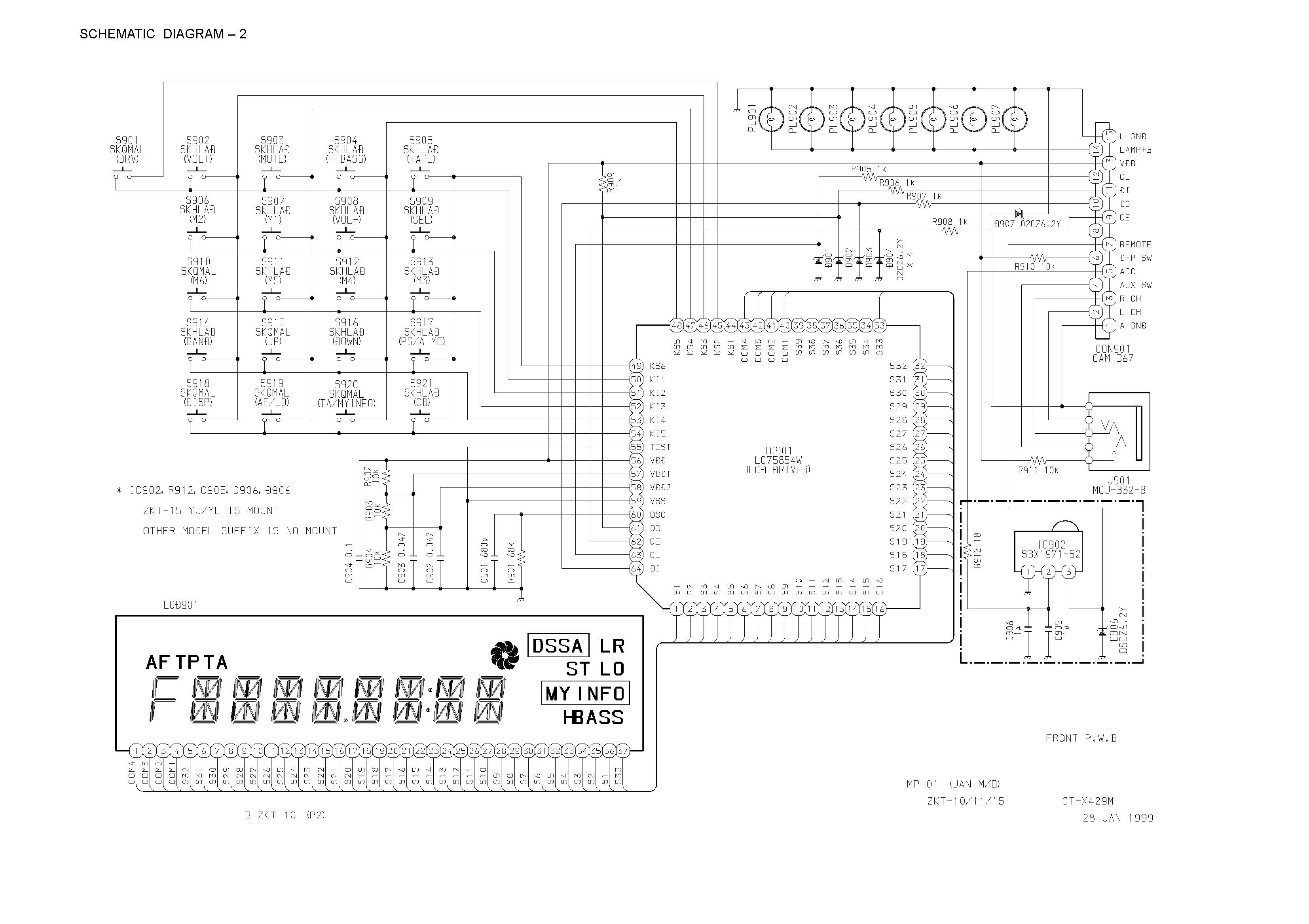 Aiwa CT-R 429 M Schematic Diagram (Main / Front) in PDF