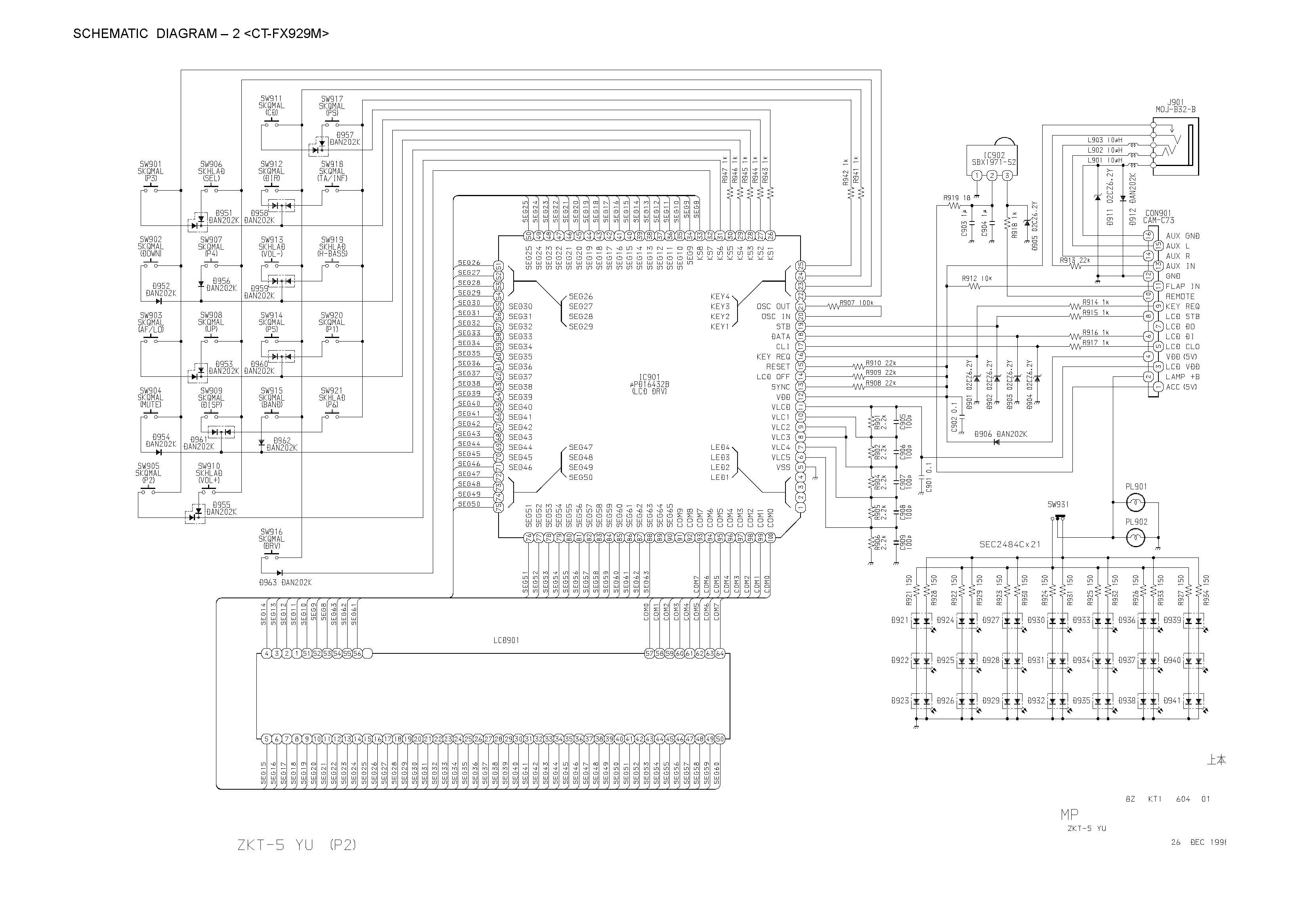 Aiwa CT-FX719 Schematic Diagram (Main / Front) in PDF
