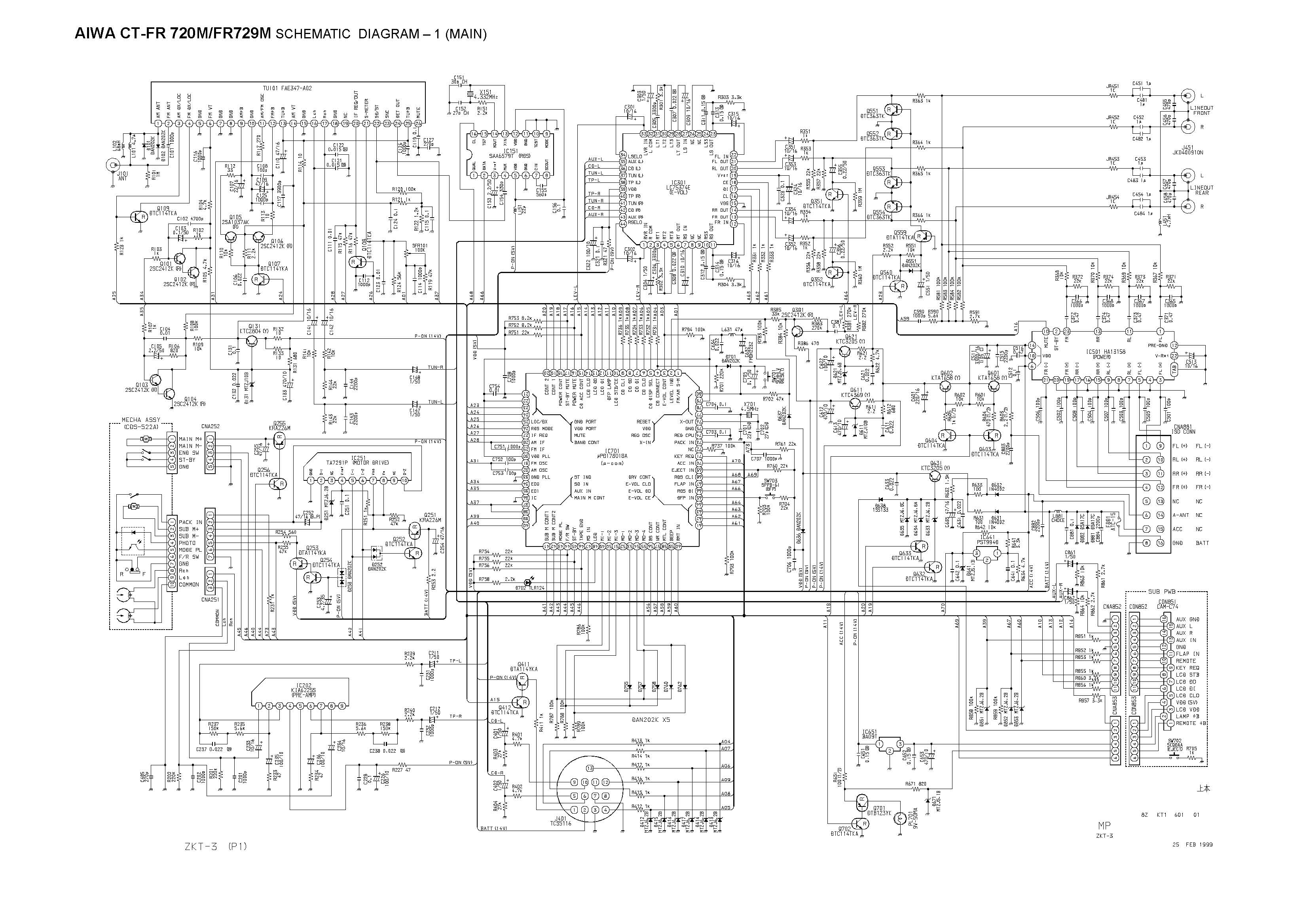 Aiwa CT-FR 720M Schematic Diagram (Main / Front) in PDF