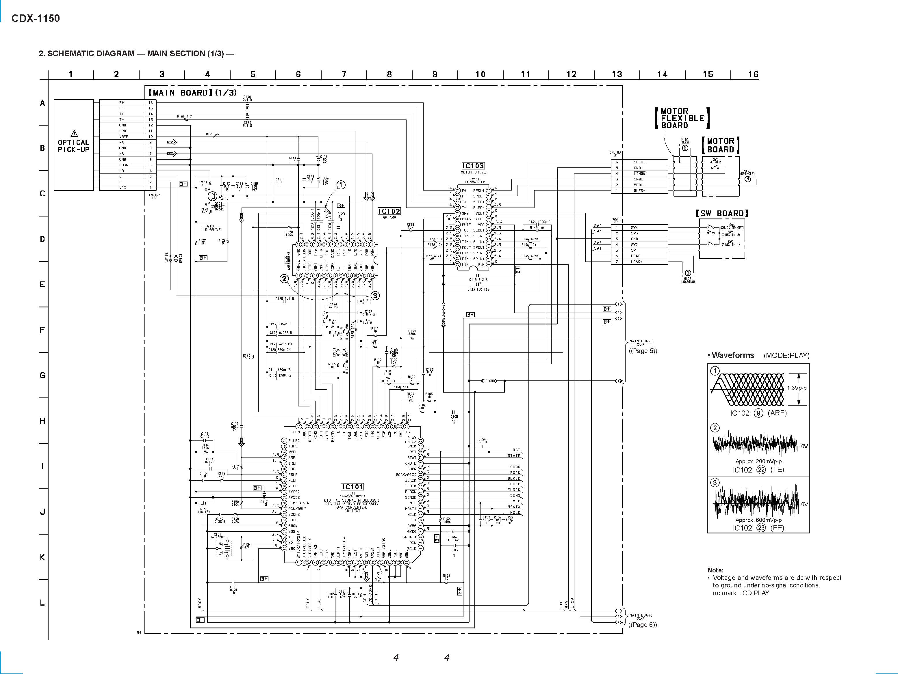 Sony CDX-1150 Schematic Diagram (Main / Front) in PDF
