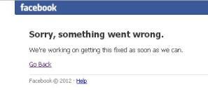 Error de Facebook en noviembre 2012