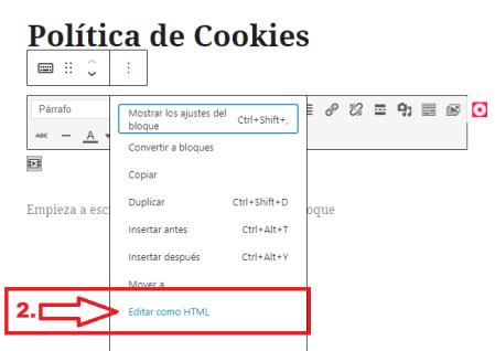Añdir script a la Política de Cookies