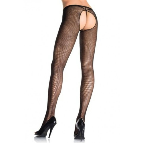 PLUS SIZE FISHNET CROTCHLESS PANTYHOSE S4F05962