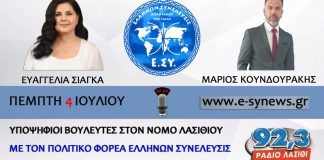 ΥΠΟΨΗΦΙΟΙ ΒΟΥΛΕΥΤΕΣ Ε. ΣΙΑΓΚΑ & Μ. ΚΟΥΝΔΟΥΡΑΚΗΣ 4-7-2019