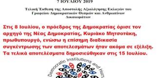 ΤΑ ΠΑΡΑΤΥΠΑ ΤΩΝ ΒΟΥΛΕΥΤΙΚΩΝ ΕΚΛΟΓΩΝ - Τελική Έκθεση (2019) της Αποστολής Αξιολόγησης Εκλογών του Γραφείου Δημοκρατικών Θεσμών και Ανθρωπίνων Δικαιωμάτων του ΟΑΣΕ (ODIHR)