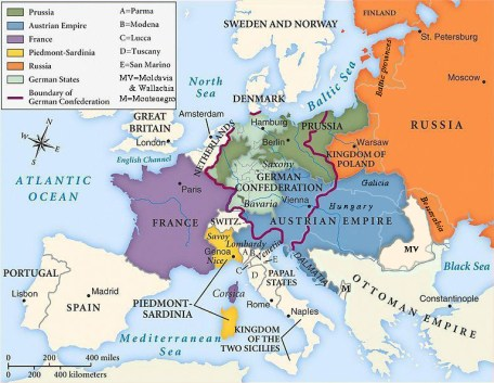 Europe in 1815 – after the battle of Waterloo