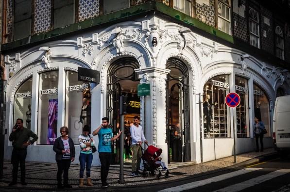 Tezenis is a lingerie store with crisp white Art Nouveau storefront