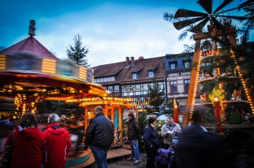 Carousels swirl the kiddies round and round, while their family get warm at one of the many cottages selling hot beverages