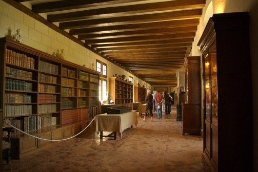 Now a library, this arcaded gallery was used as an infirmary during WWI. And the weapon of arms on the fireplaces were removed during the French revolution. Photo courtesy of Chateau Plessis-Bourré