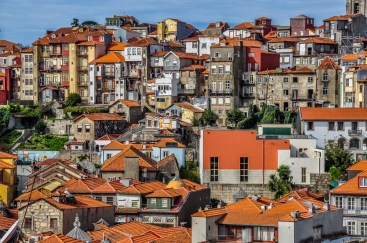 Colourful houses of downtown Porto