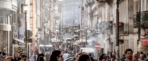 The bustling Shopping Street of Rua Santa Catarina