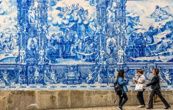 Beautiful azulejos facade of Capela Das Almas