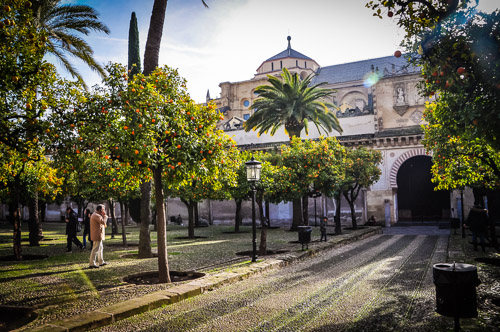 """The Mosque–Cathedral of Córdoba seen from the """"Patio de los Naranjos"""""""