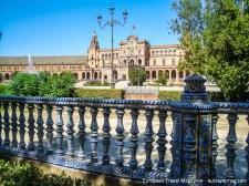 The Plaza de España from 1928 mixes Renaissance and Mudéjar architecture