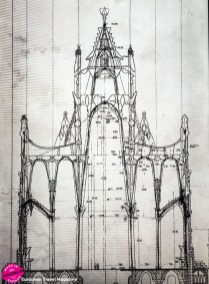 Sketches of the church of Colonia Güell