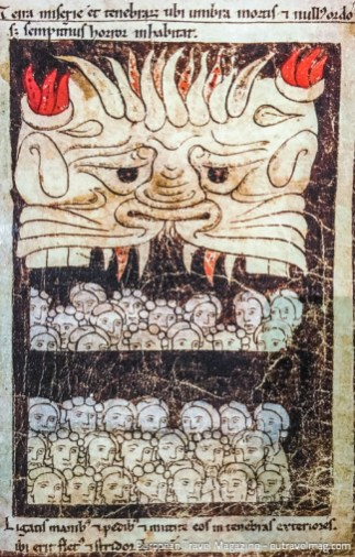 Mouth of Hell devouring the heretics, from the Cathar Museum in Mazamet