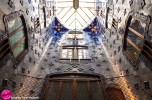 Gaudí was obsessed with light and ingeniously used different blue shades of tiles in the light well