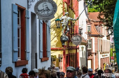 There are always a group of tourists doing a tour of Heidelberg!