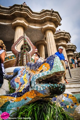 Dragon with Gaudí's signature colourful ceramic tiles